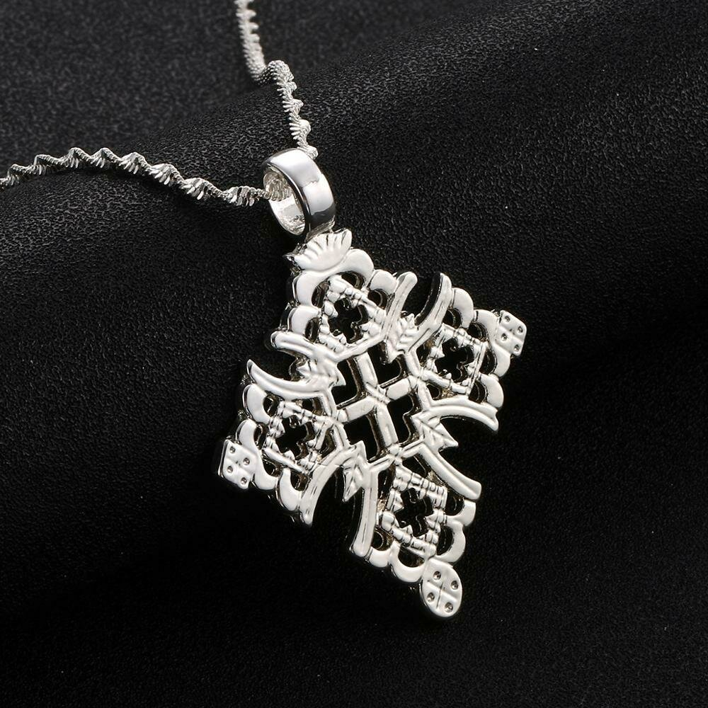 Christian Jewelry Ethiopian Cross-Pendant Coptic Necklace Silver-Color Abyssinian