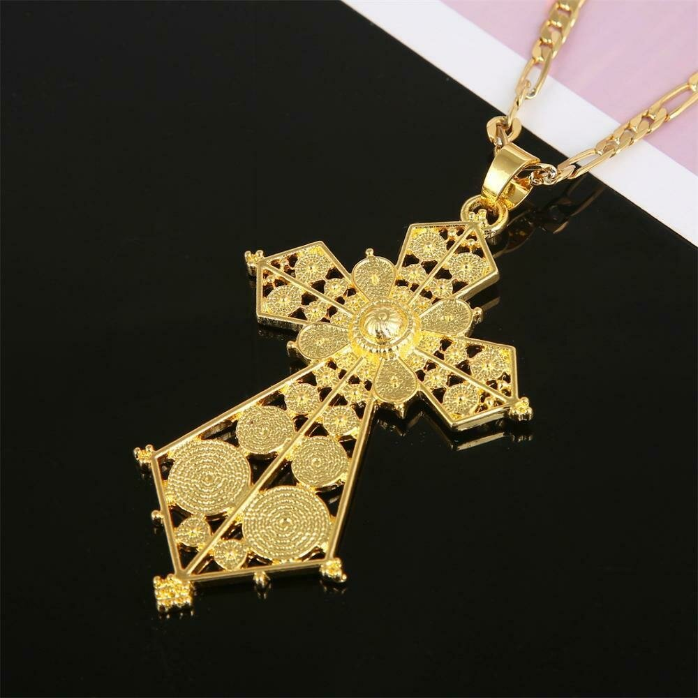 Ethiopian Gold Color Trendy Pendant Necklace for Women African Fashion Wedding Jewelry
