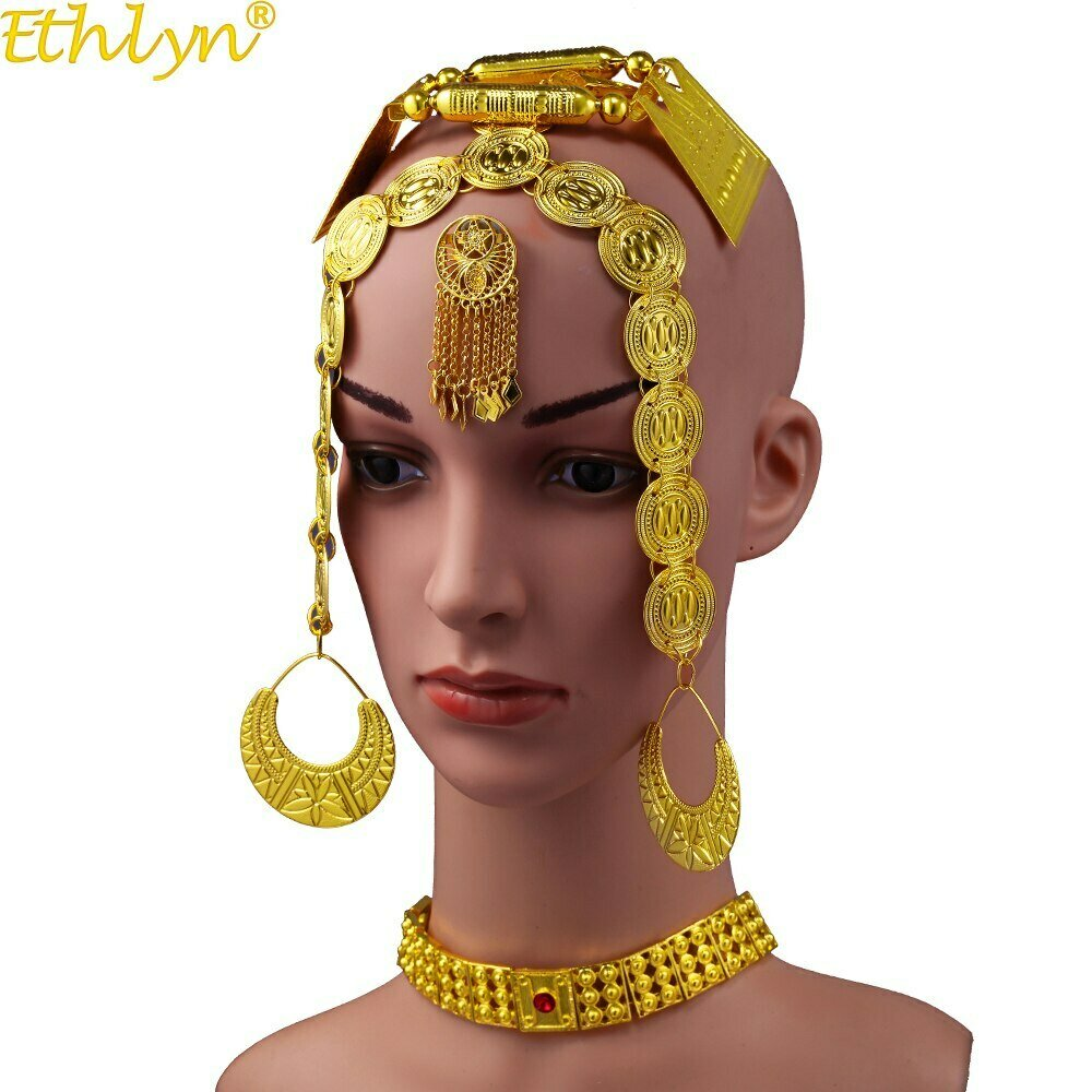 Wedding-Jewelry-Sets Ethiopian Traditional Eritrean Red-Stone Gold-Color Women Latest
