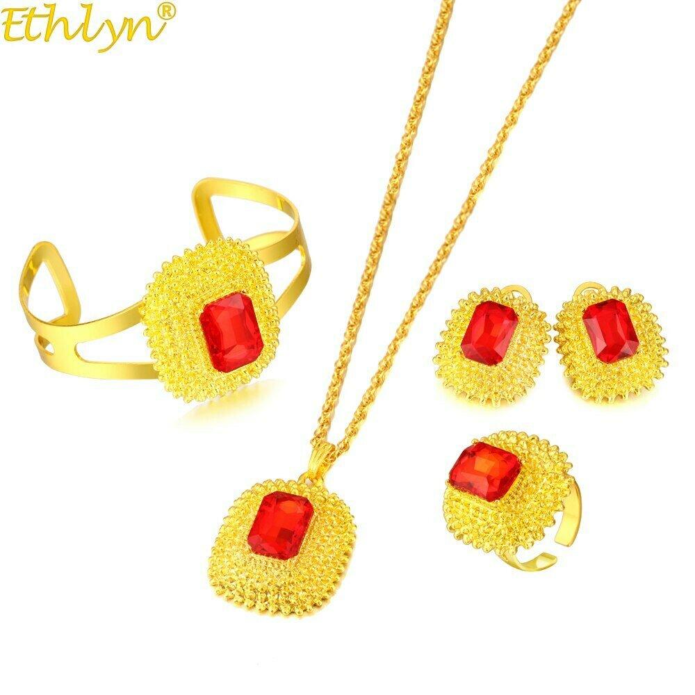 Jewelry-Sets Earrings Ethiopian Eritrea Bangle Necklaces Gift Wedding-Habesha Bride Ethlyn