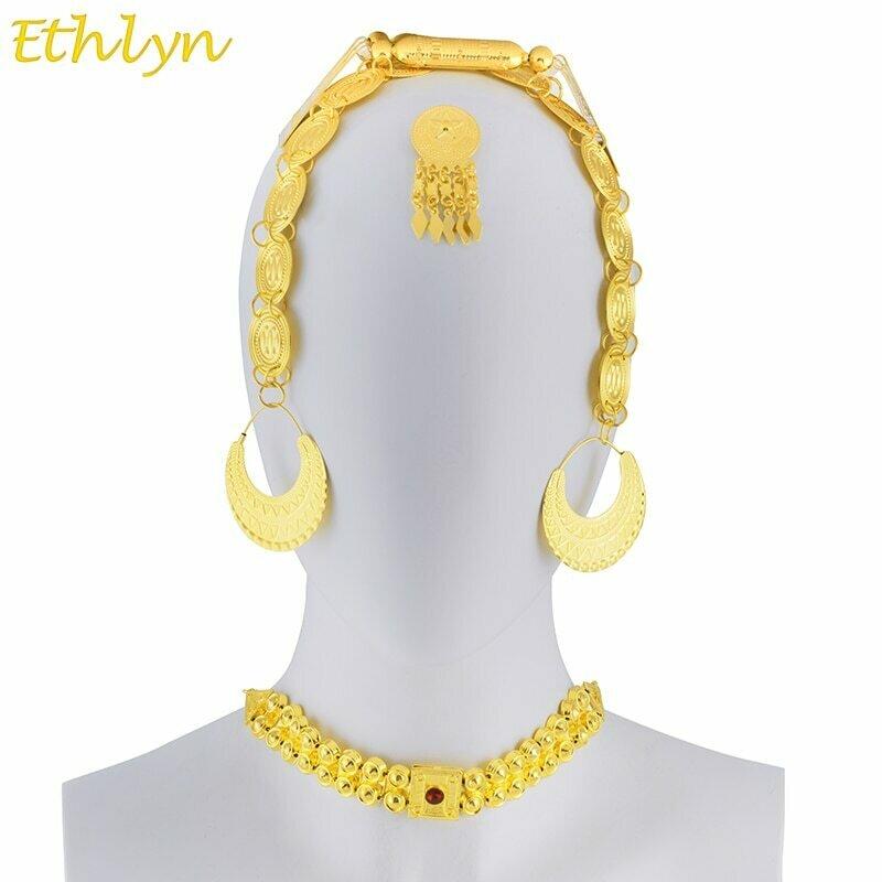 Choker-Sets Jewelry Stone Ethiopian Wedding-Traditional Eritrean Ethlyn Gold-Color Women