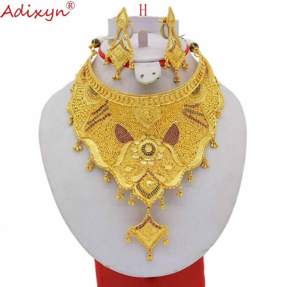 Gold Jewelry-Set Necklace/earrings Ethiopian/african Wedding-Accessories Women Adixyn