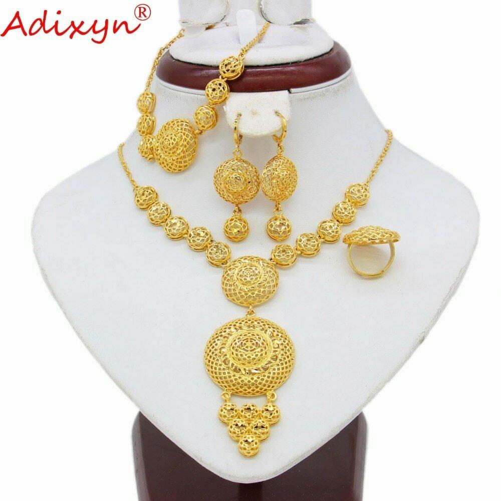 Jewelry-Set Ethiopian Bracelet/ring Eritrea/india Gift Gold-Color Women Adixyn Round