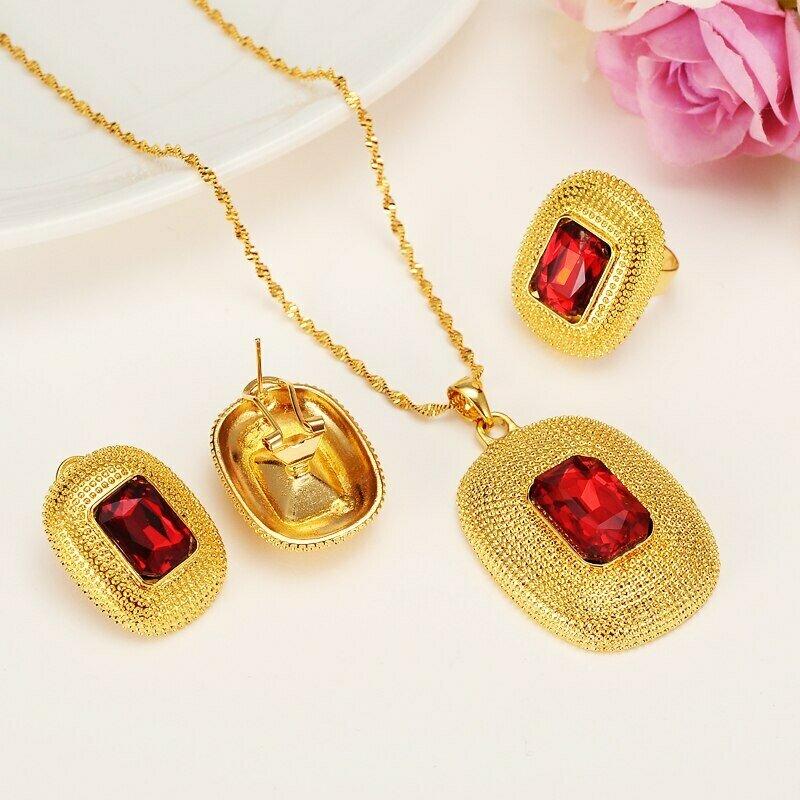 Ring Necklaces Jewelry-Sets Ethiopian Rhinestone Gift Wedding-Habesha Bride Crystal-Africa