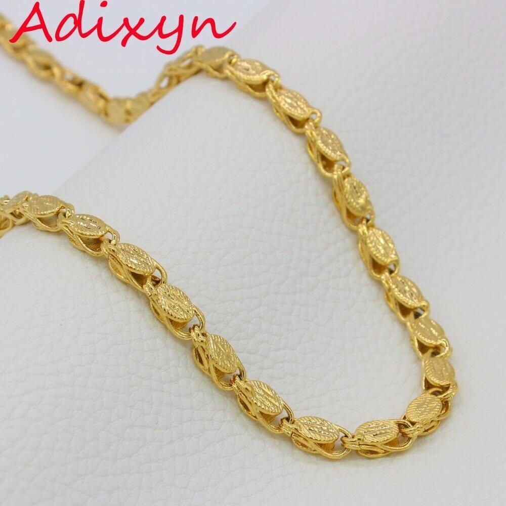Necklaces Men Ethiopian Thick Women Eritrea Adixyn Copper 60cm 7mm Dubai/arab-Items Gold-Color/copper-Africa