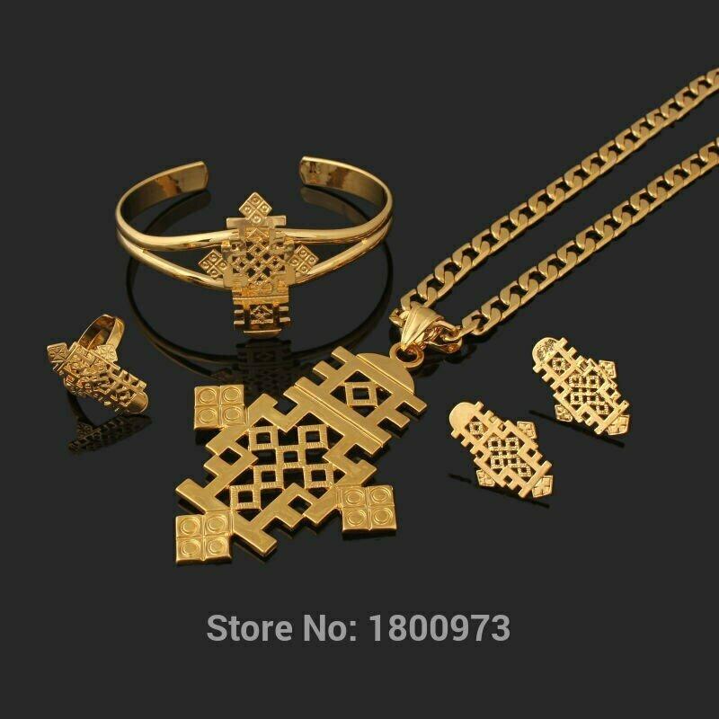 Jewelry-Sets Ethiopian Cross-Habesha Gold-Color African Newest Wedding 22k Big-Size