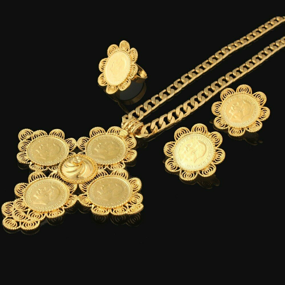 Jewelry-Sets Wedding-Habesha Cross-Ethiopian African Gold-Filled Women Newest for Big-Size