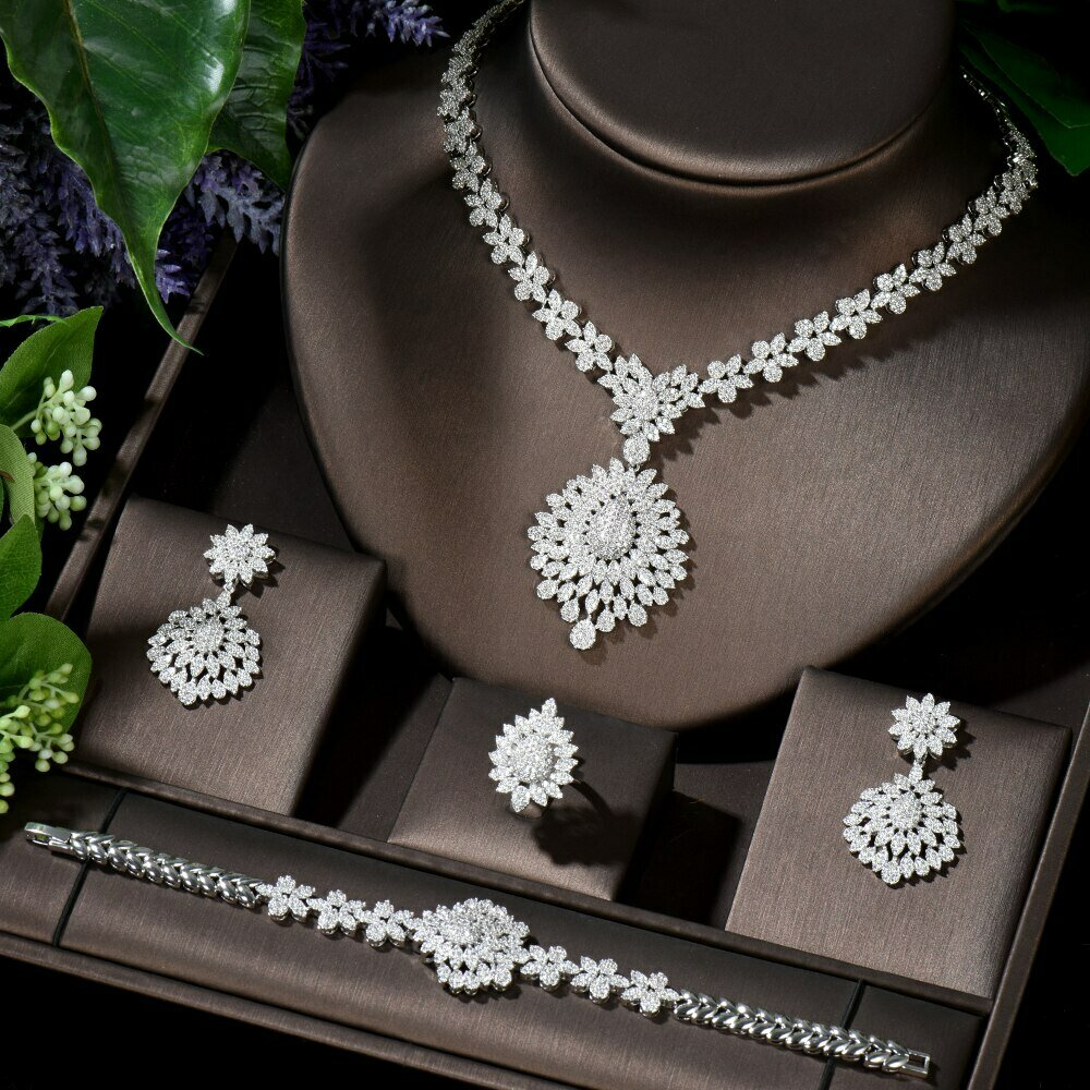 Costume-Accessories Bridal-Jewelry-Set Ethiopian HIBRIDE Cubic-Zirconia Wedding Elegant