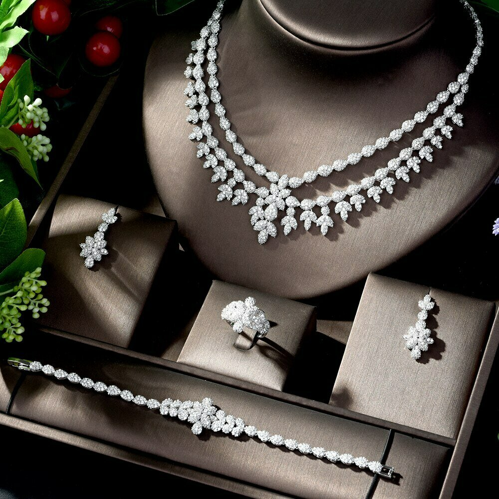Jewelry-Sets HIBRIDE Beads Charm-Dubai Crystal Parure Nigerian Wedding-African 4pcsn-1225