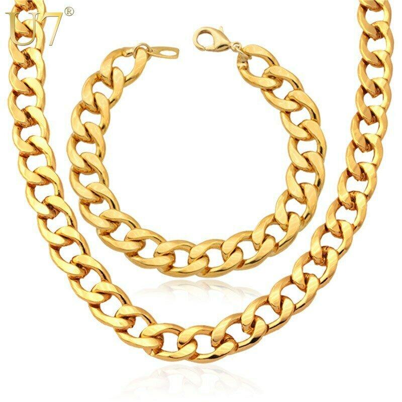 Jewelry-Set Bracelet Chain Ethiopian Cuban Gold-Color U7 Men for 11MM Wide Link Chunky