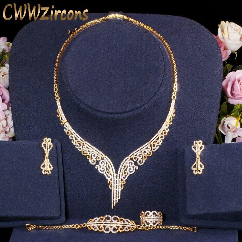 Costume-Accessories Bridal-Jewelry-Set Wedding Cubic-Zirconia Ethiopian Elegant Gold-Color