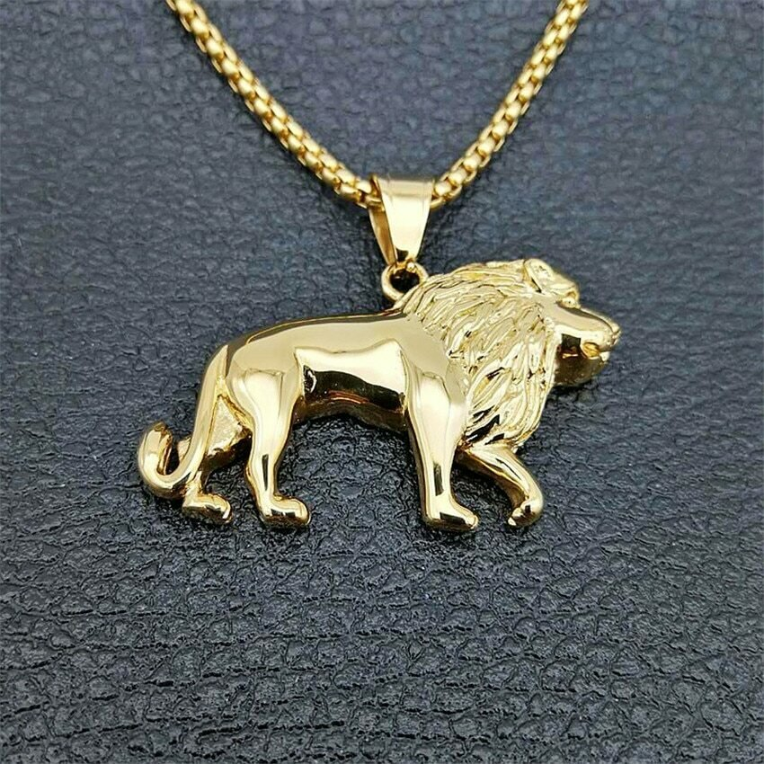 Lion Necklace Pendant Animal-Jewelry Lion-Ethiopian Stainless-Steel Best-Gift Africa