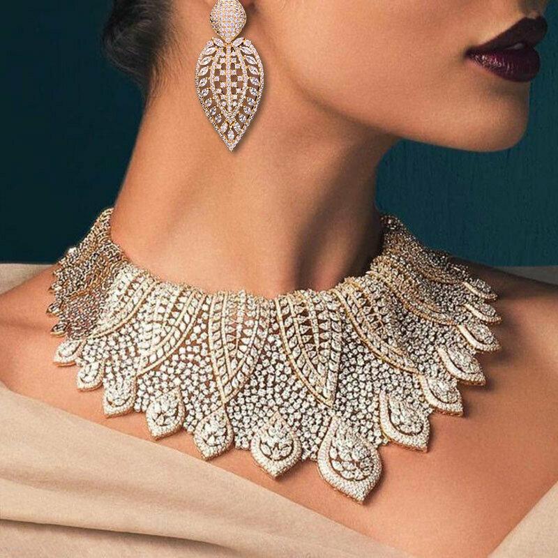 Dubai Gold Jewelry-Set Cubic-Zircon Wedding-African-Beads Nigerian GODKI Luxury Fireworks