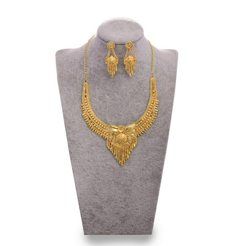 Jwelry-Set India Ethiopian Gifts Dubai Necklace/earrings Gold-Color Women Luxury