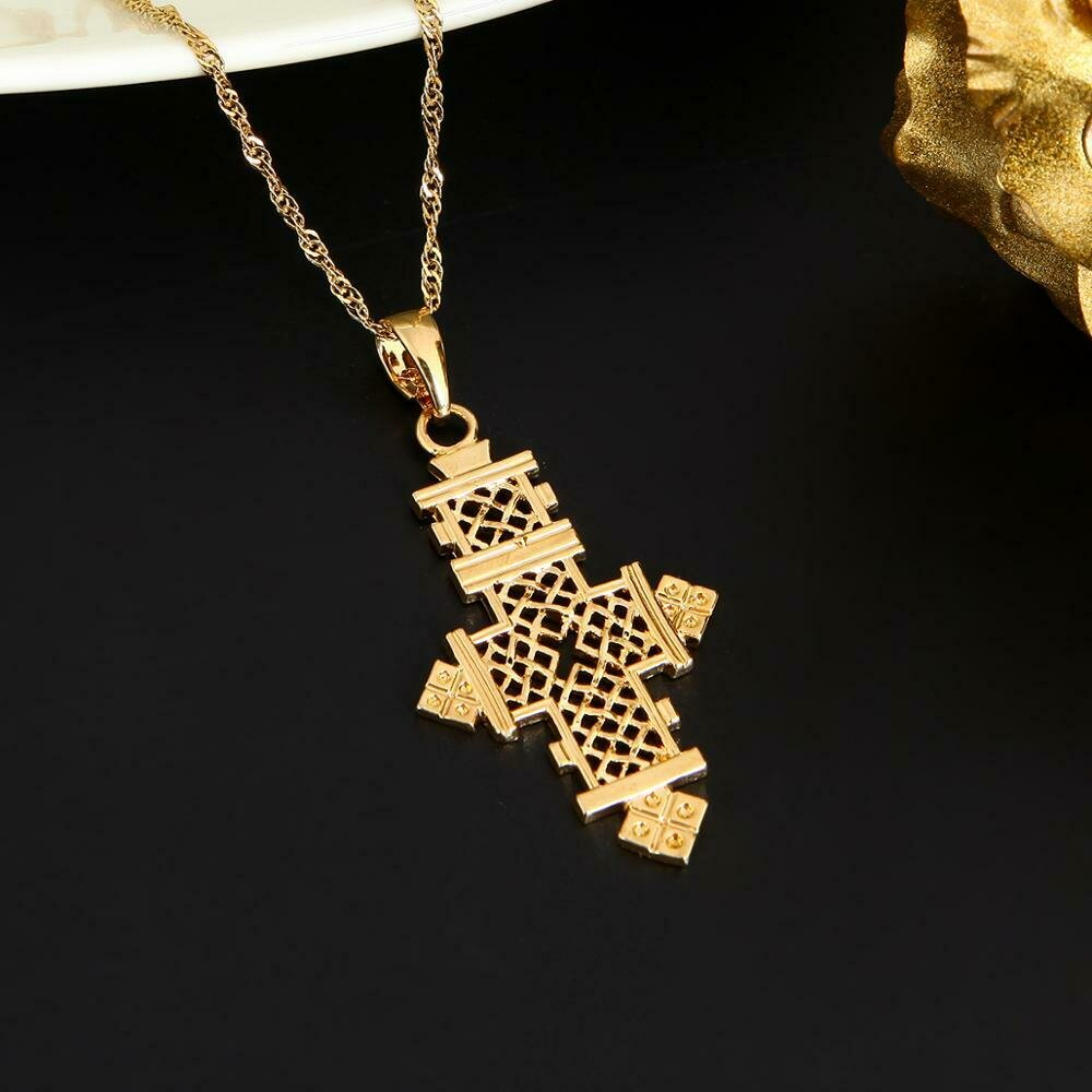 24K Gold Color Cross Pendant Necklace Ethiopian Women Chain Jewelry
