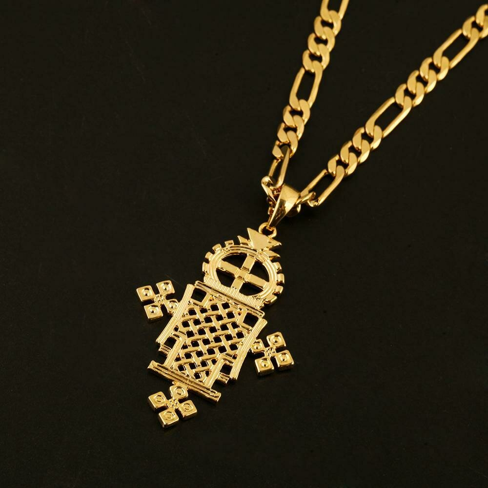 Necklace Ethiopian Jewelry Cross-Pendant Christening Gold-Color Fashion Eritrea African