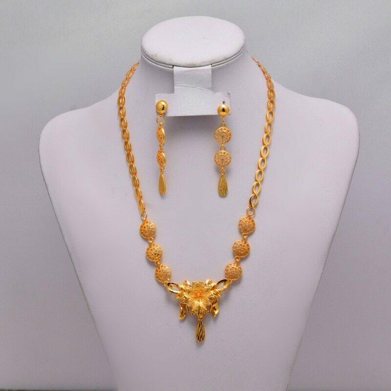 Necklace Earring Dubai Gold Flower Wedding-Jewelry-Sets Ethiopian Eritrea Gifts Bride