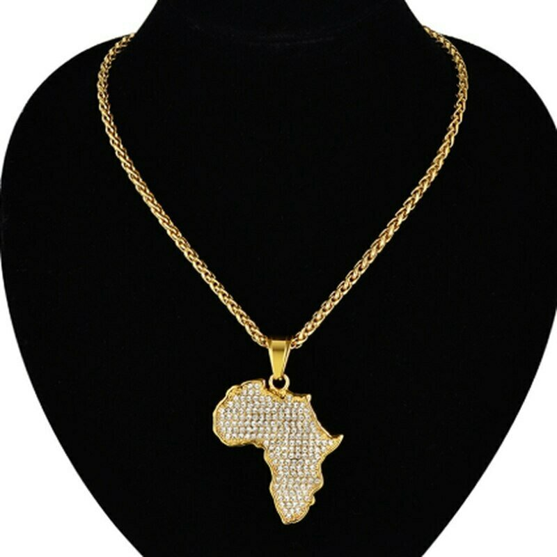 Africa Map Pendant Necklace for Women Men PersonalityGold Color Stainless Steel Ethiopian