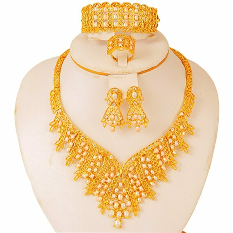 Jewelry-Sets Necklace Earrings Ethiopian Dubai 24k-Gold African Collares Wedding-Gifts