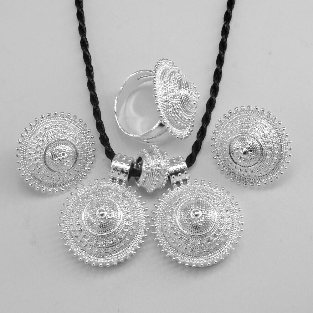 Earring-Ring Jewelry Ethiopian-Set Habesha Anniyo Pendant-Rope Eritrea-Africa Silver-Color