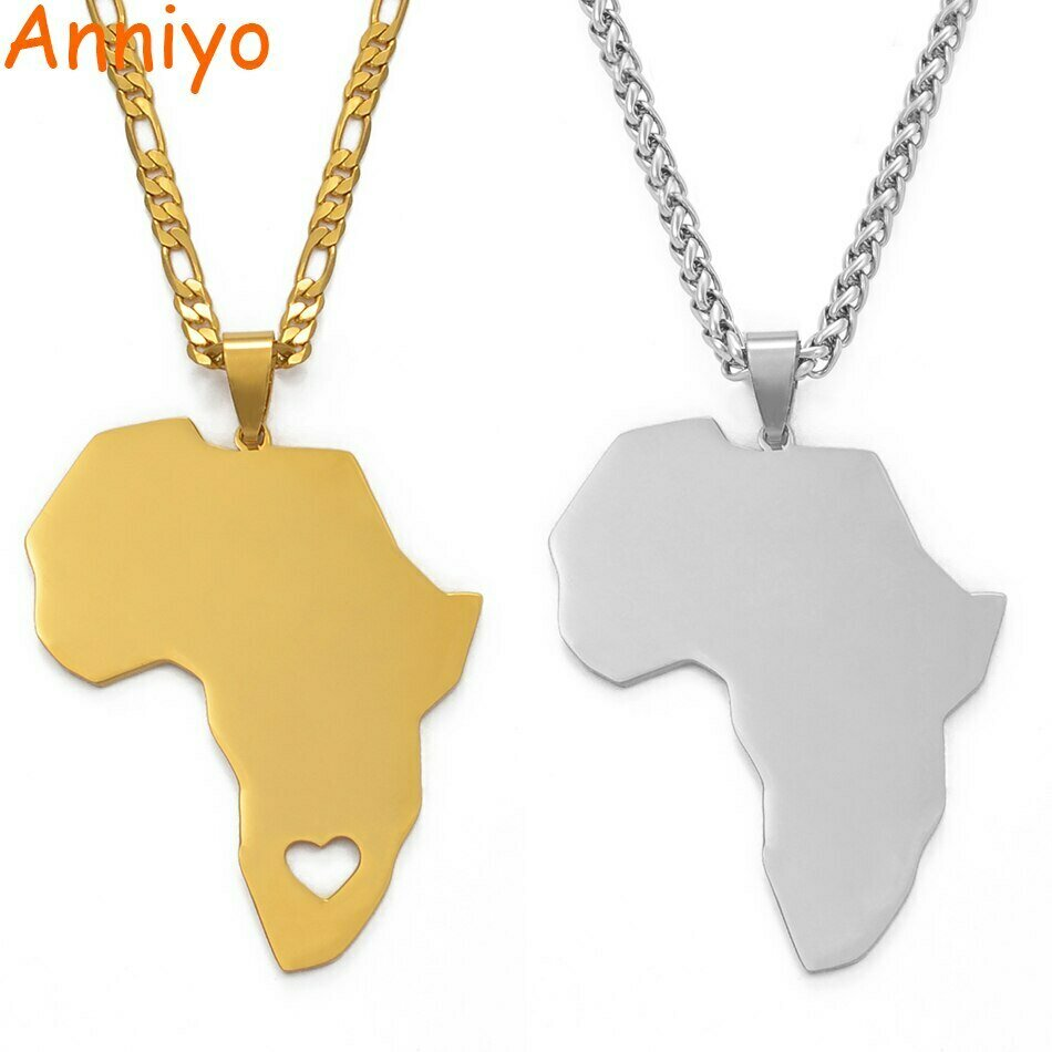 Necklaces Women Ethiopian Africa-Map Jewelry 5cm-Pendant Gifts Trendy Anniyo Maps Silver-Color/gold-Color
