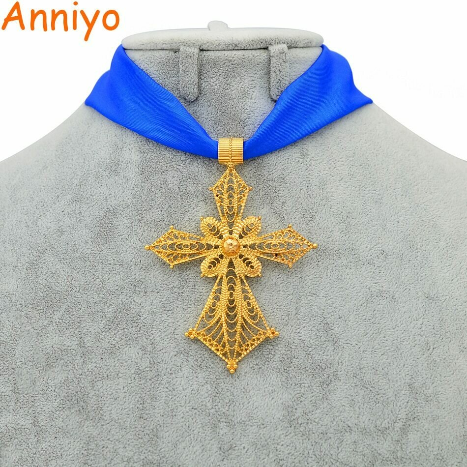Anniyo Ethiopian Cross Pendant DIY Rope Chain for Women Girls.African Wedding Party Gold