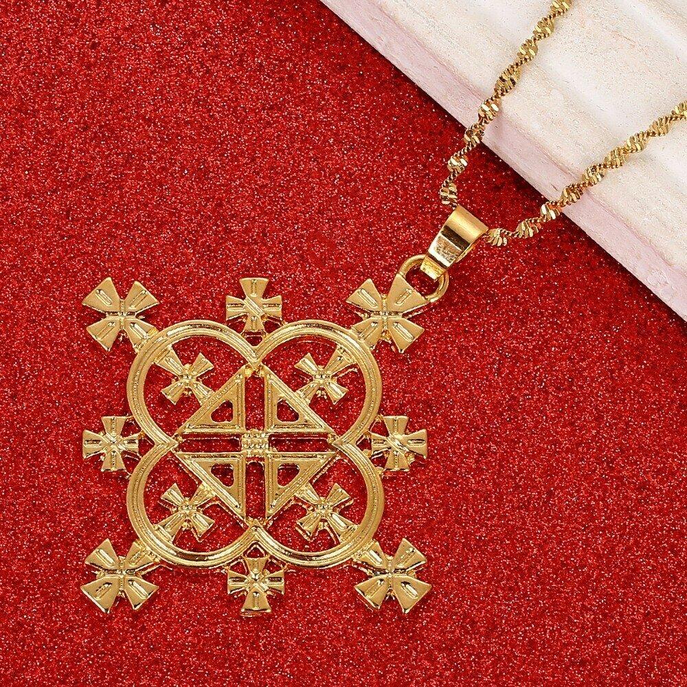 Necklace Jewelry-Africa Ethiopian Cross-Pendants Gold-Color Women Habesha Big