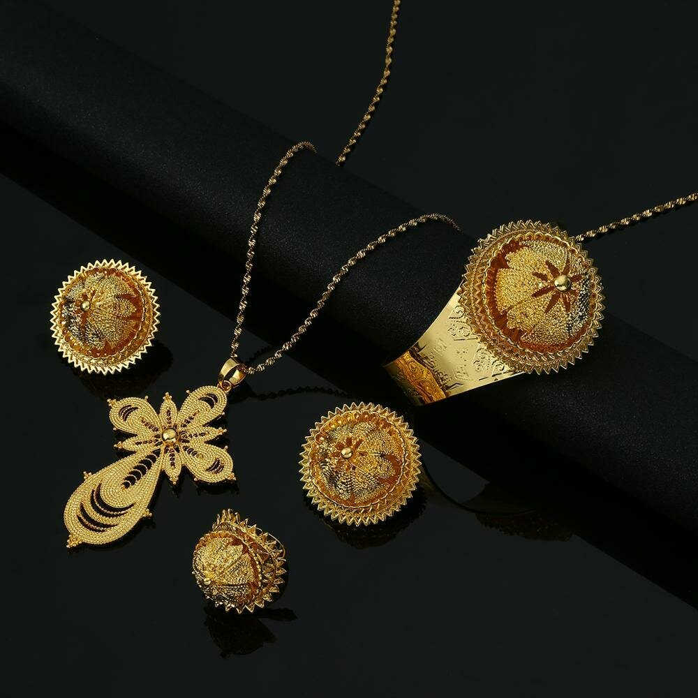 Traditional-Jewelry-Sets Habesha Ethiopian Eritrean Wedding-Party Gold-Color African