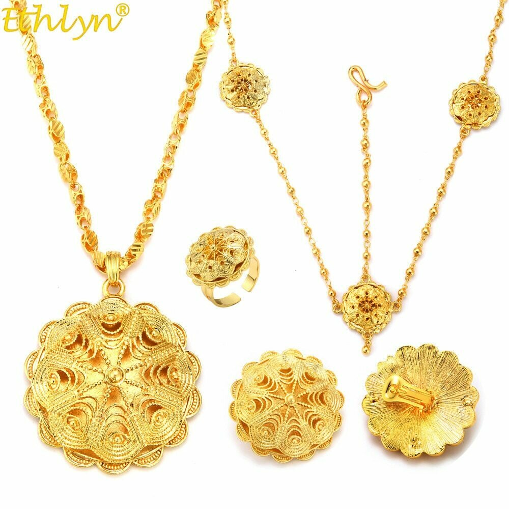 Jewelry-Sets Gold-Plating-Accessories Ethiopian Flower-Party Ethlyn Bridal Wholesale