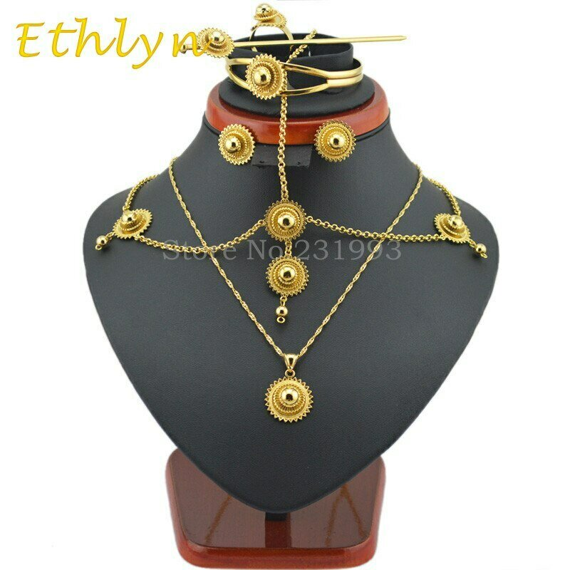 Jewelry-Sets Ethiopian Traditional Gold Famous-Brand Bridal-Habesha Ethlyn Wedding Setss48