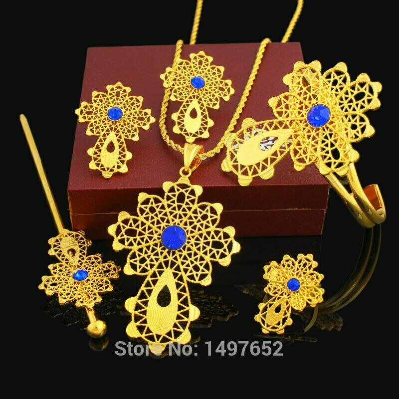 Cross-Set Ethiopian 24k-Gold-Color African Bridal-Wedding-Set Earring/ring/Hairpin Latest