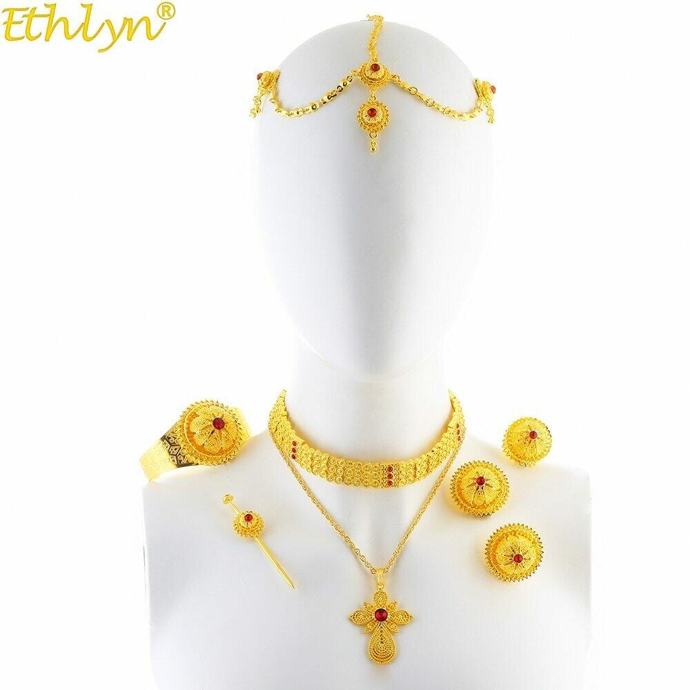 Jewelry-Sets Habesha Ethiopian Wedding-Choker Eritrean Cross-Pendant Gifts Rhinestone
