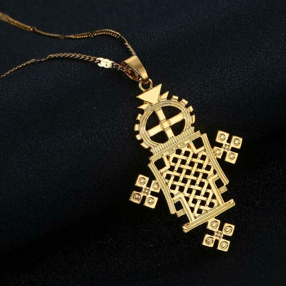 Ethiopian Gold Color Cross Pendant Necklace Eretrian Coptic Crosses Women Jewelry