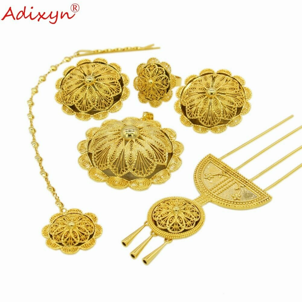 Jewelry-Set Ethiopian Wedding-Gifts Women Gold-Color/copper Adixyn for N030515 Hairpin/hairchain