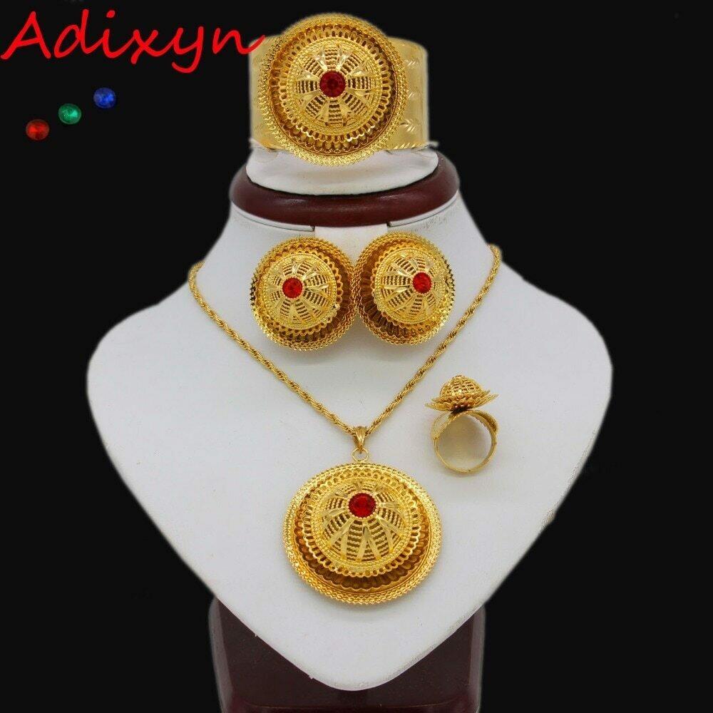 Jewelry-Set Ethiopian Ring/bangle Eritrea Wedding-Habesha Gold-Color Adixyn