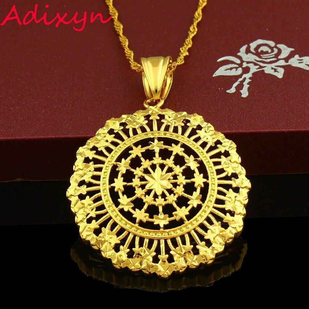 Round Pendant Necklace Jewelry Ethiopian Gold-Color Men Women Iran Arabic Middle-East