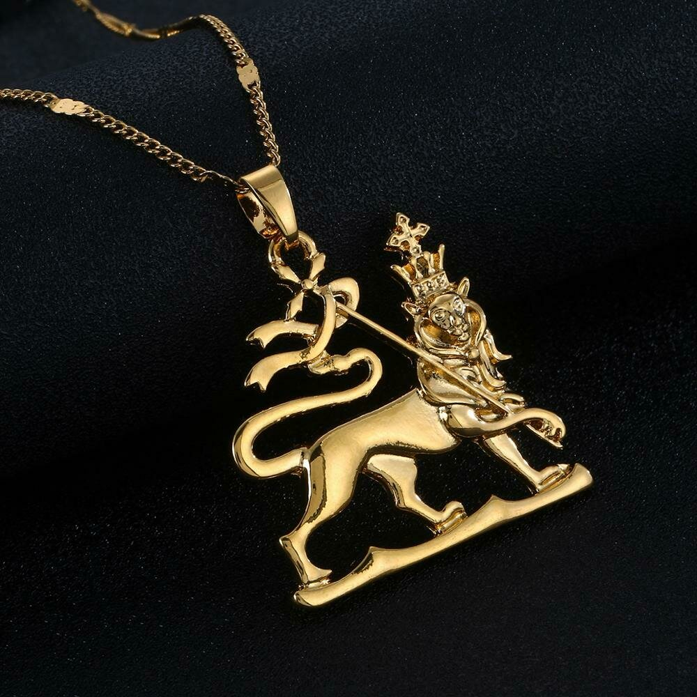 Ethiopian Gold Color Lion Pendant Necklace Trendy Lion of Judah Ethnic Chain Jewelry