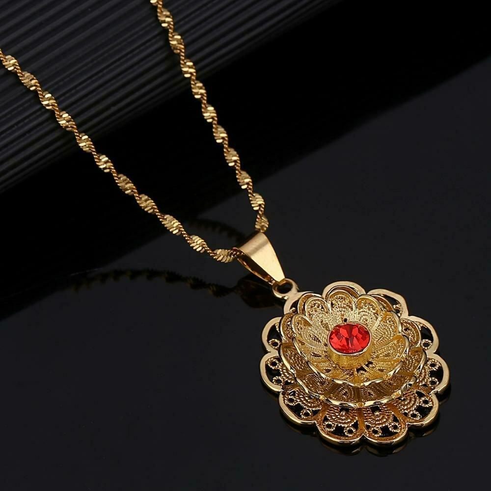 Necklaces Women Ethiopian Jewelry Flower-Chain Fashion Pendant Gold-Color African Dubai