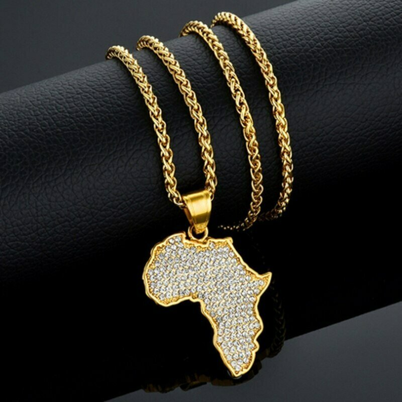 Pendant Necklace Jewelry Ethiopian Metal Gold-Color Men for High-Quality Africa-Map Creative-Design