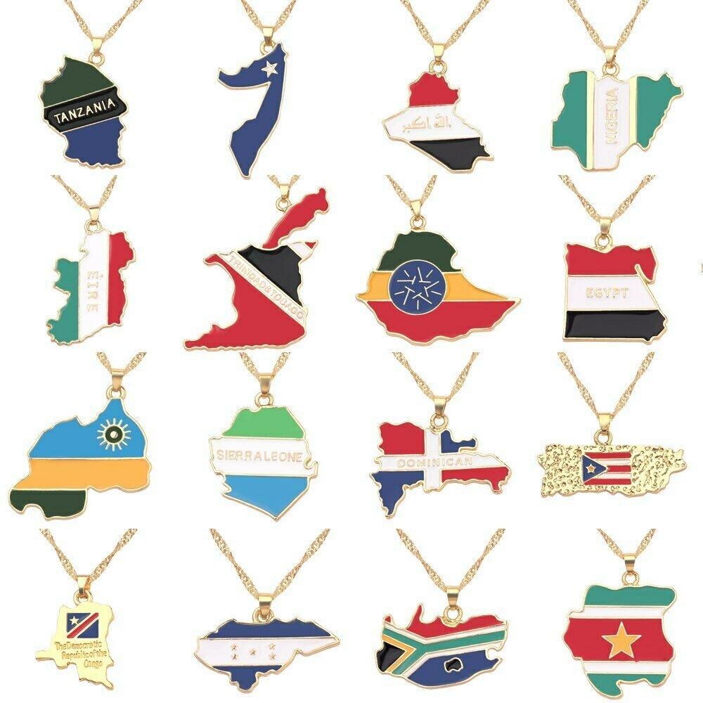 Classic Africa Map Pendant Necklace For Women Men Necklace Gold Color Collier Ethiopian