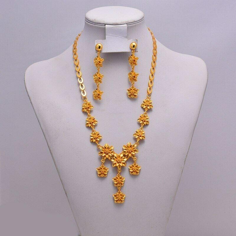 Necklace Earring Wedding-Jewelry-Sets Ethiopian Eritrea Gift Bride Dubai Women African