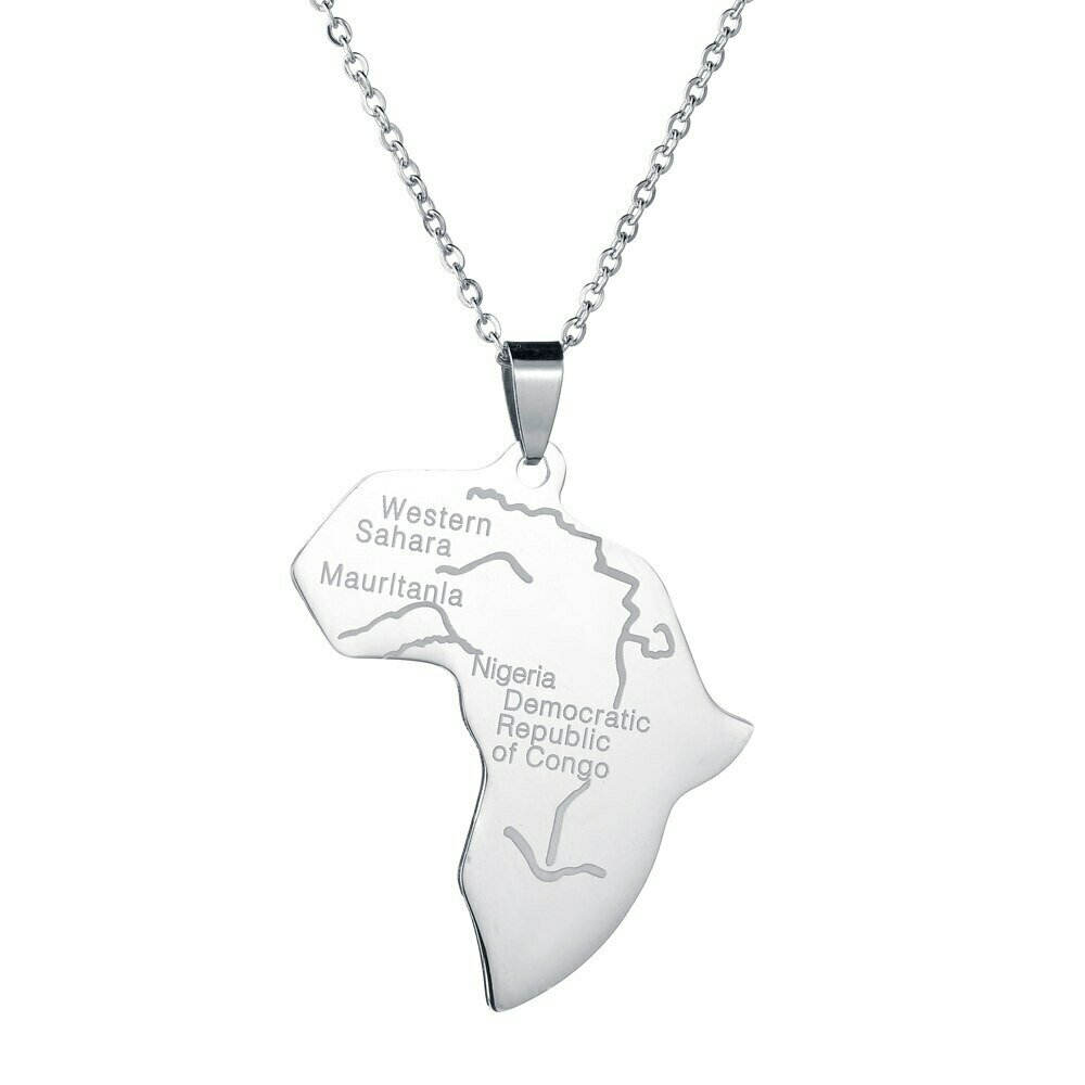 Pendant Necklace Hiphop-Item Africa-Map Ethiopian-Jewelry Silver-Color Wholesale Women