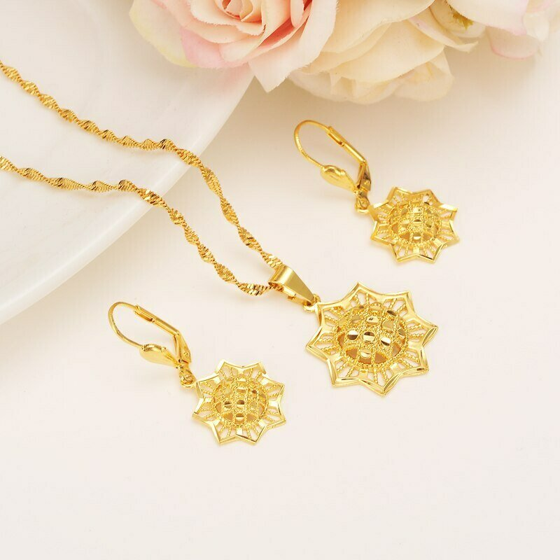 Earrings Jewelry-Sets Habesha Ethiopian Necklace Gift Pendnat Africa Bridals Gold Diy