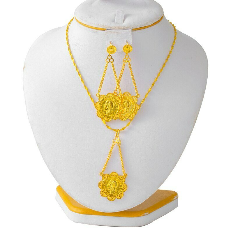 Jewelry-Sets Coin-Pendant Eritrea Ethiopian Gold African Earring-Ring Necklace Bridal-Set