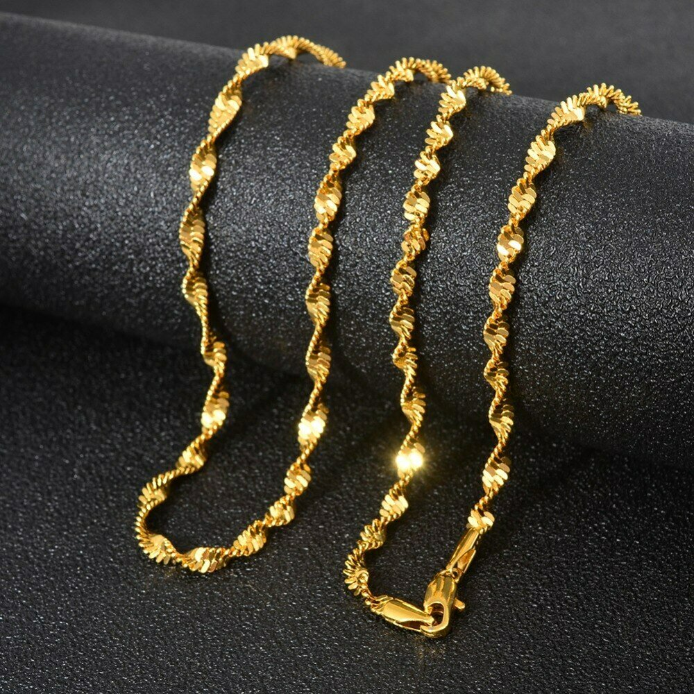 Anniyo 45cm/50cm/60cm Ethiopian Chain Necklaces for Women Gold Color Chain Fashion Africa