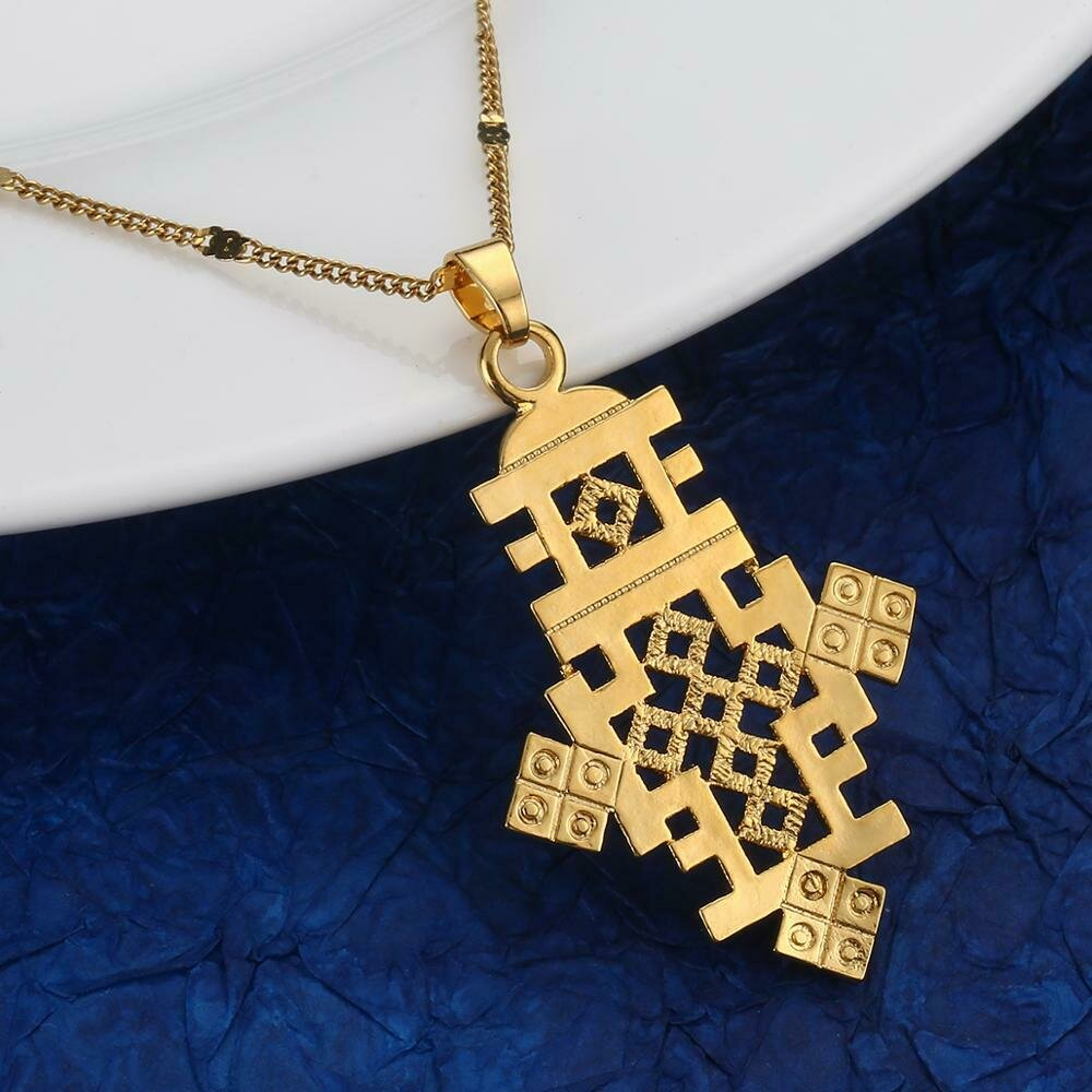 Necklace Ethiopian Cross-Pendant Jewelry Chain Classic Gold-Color Fashion African