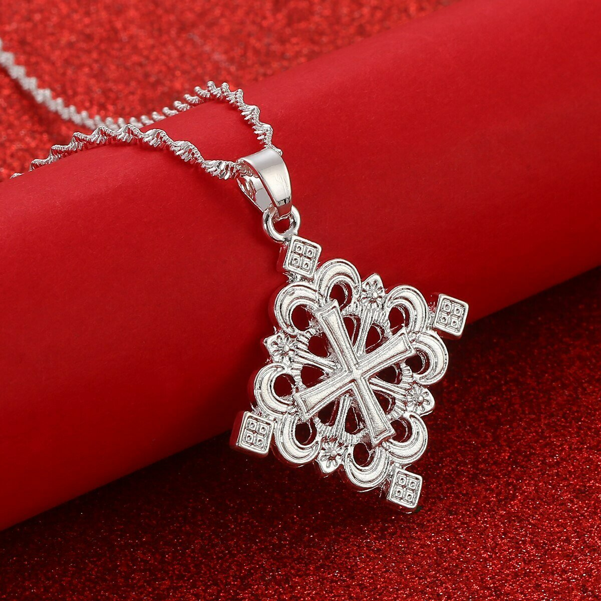 Ethiopian Cross Pendant Necklaces for Women Eritrea Jewelry Africa Ethnic Crosses