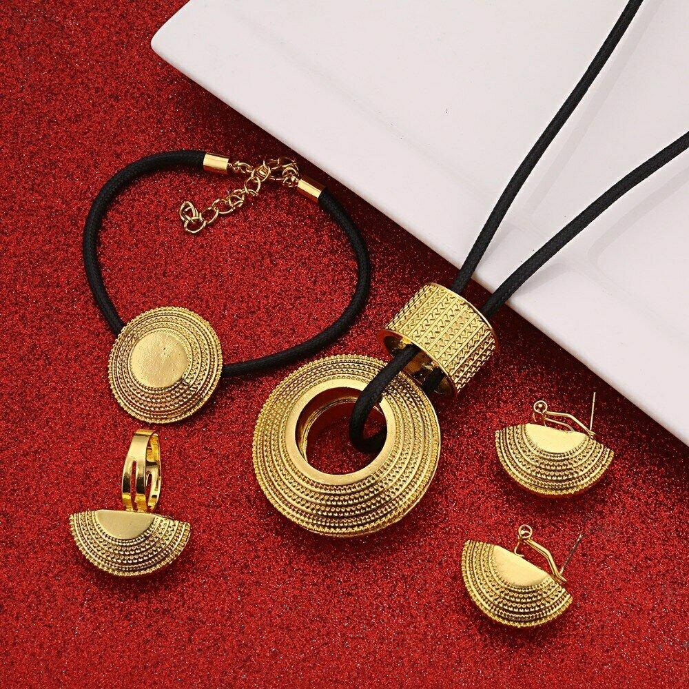 Ring-Bracelet Earrings Jewelry-Set Pendant Habesha Ethiopian Gift Wedding-Africa Luxury