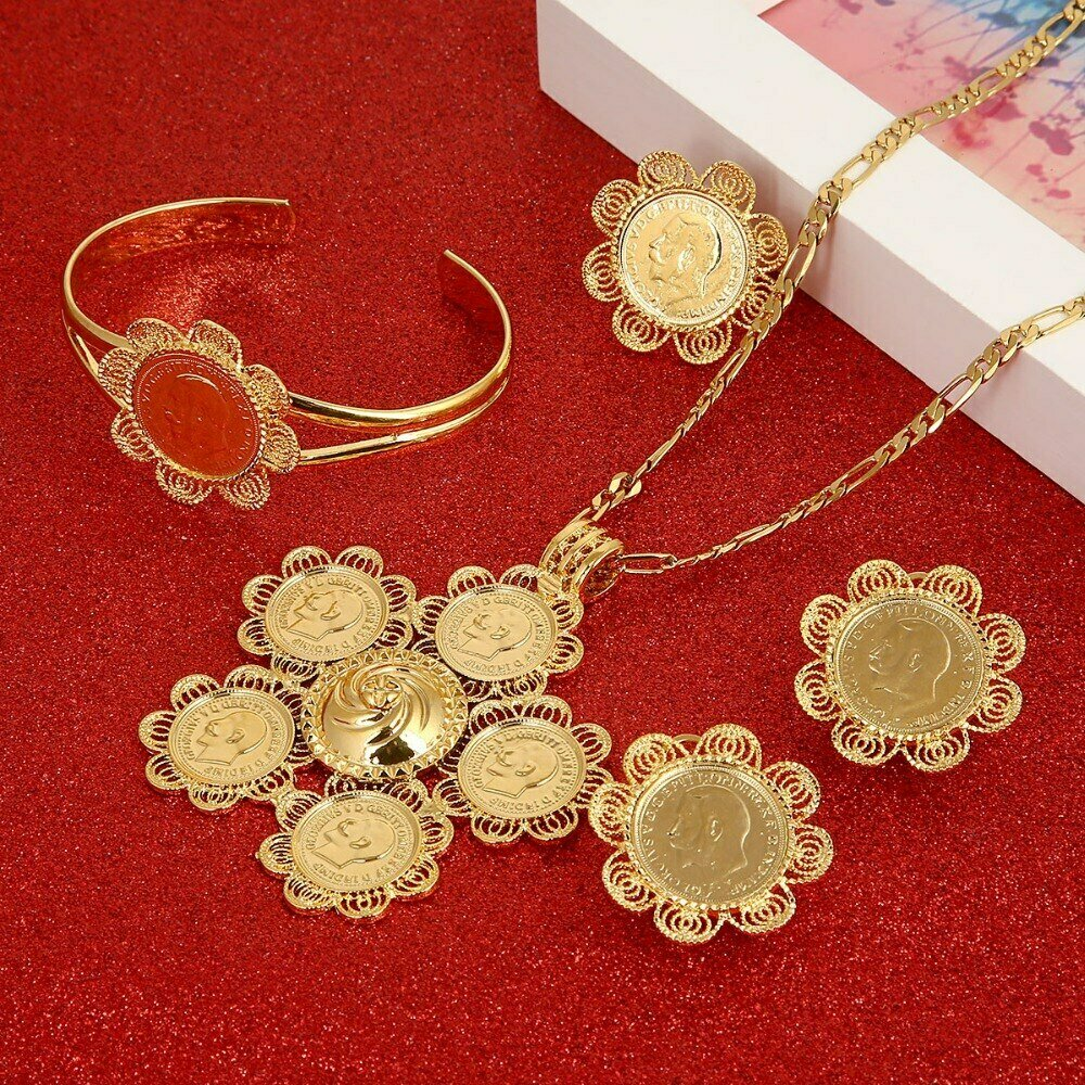 Jewelry-Set Ethiopian Eritrea Africa Gold-Color Women Coin-Cross