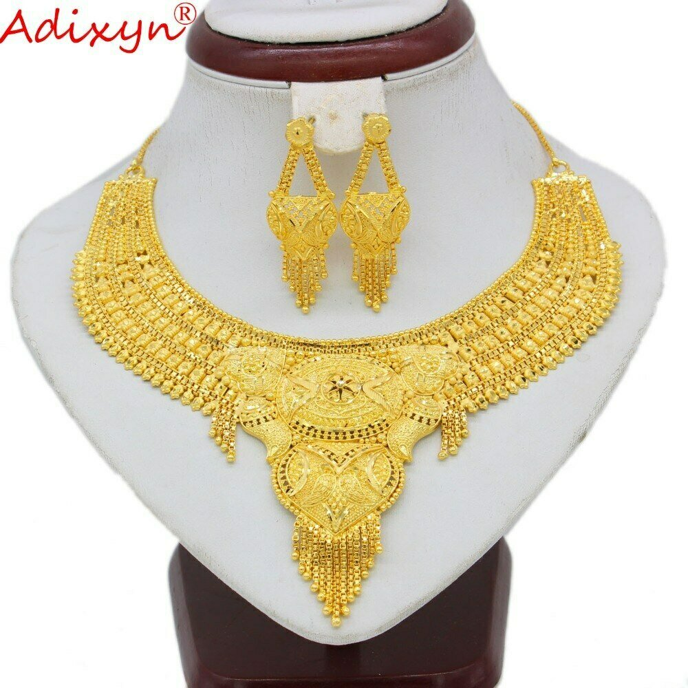 Jewelry-Set Earrings Necklace Ethiopian/dubai Gifts Gold-Color Elegant Wedding/party
